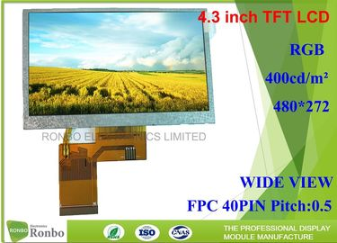 China 4.3 inch 480x272 RGB 40pin 400Cd/m2 TFT LCD Display Option Touch Screen supplier
