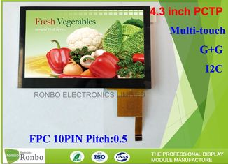 4.3 Inch I2C Multi Touch Industrial Touch Panel , Projected Capacitive Touch Screen