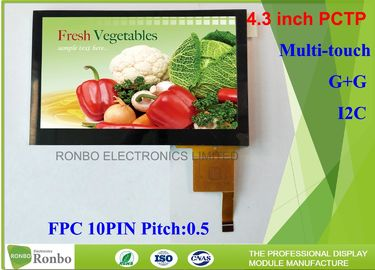China 4.3 Inch I2C Multi Touch Industrial Touch Panel , Projected Capacitive Touch Screen supplier