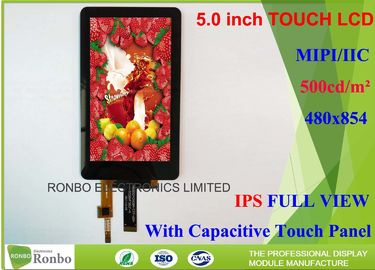 China High Luminance IPS Touch Screen LCD Display 5.0 Inch 480 * 854 460cd / M² Brightness supplier