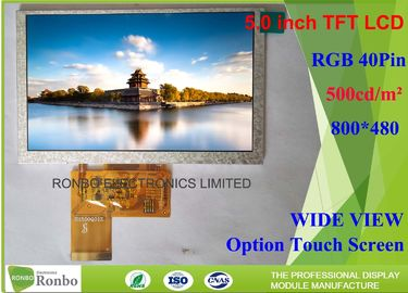 China Bright 5 Inch 800x480 40 Pin Lcd Display , TFT LCD Screen Replace AT050TN43 supplier