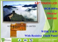China 5 Inch 800 * 480 Resistive LCD Display , Tft Resistive Touchscreen RGB 40 Pin High Brightness company