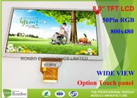 China High Brightness 8.0 Inch TFT LCD Display Panel 800 x 480 RGB 50 Pin Replace AT080TN64 company