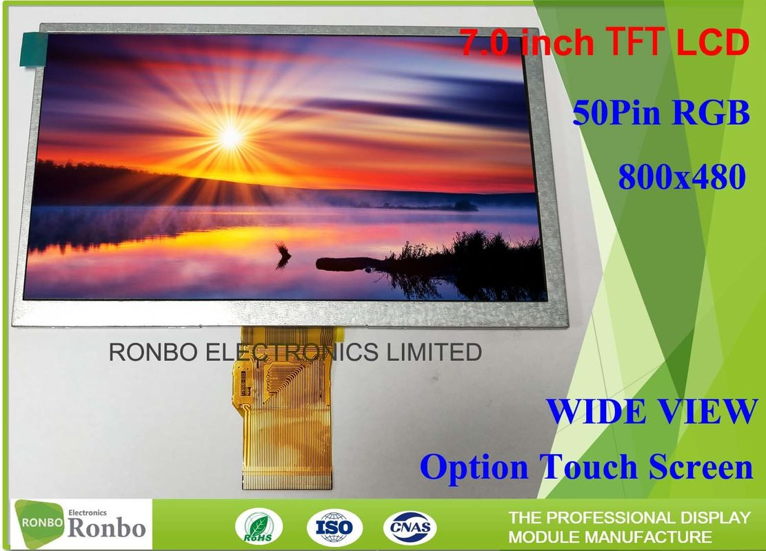 TN Type Tft LCD screen 7 Inch 50 Pin RGB Interface Customized For