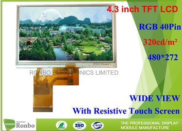 China 4.3 inch 480x272 RGB 40pin Industrial LCD Panel With Resistive Touch Panel factory