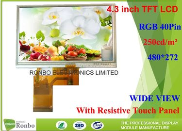 China 4.3 inch Industrial LCD Panel Resolution 480x272 With 4 wiire Resistive Touch Screen factory