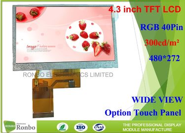 China 4.3 inch TFT LCD Display Resolution 480x272 with RGB interface Option Touch Screen distributor