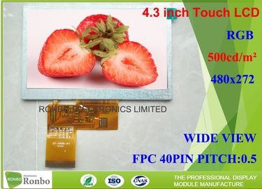 China High Brightness 24 Bit RGB Tft Display Module 4.3 Inch 480 X 272 Active Area 95.04 * 53.86mm factory