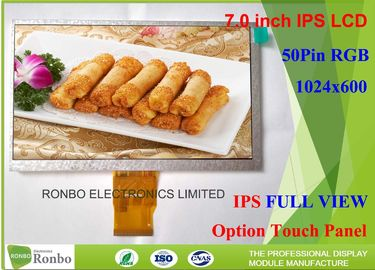 China Customizable IPS LCD Display 7'' 1024 X 600 Resolution RGB 50 Pin With Wide Viewing Angle distributor