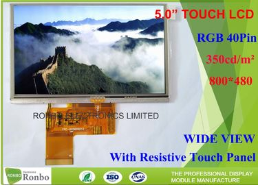 China 5 Inch 800 * 480 Resistive LCD Display , Tft Resistive Touchscreen RGB 40 Pin High Brightness distributor