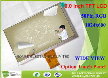 China 50 Pin RGB Interface TFT Industrial LCD Panel 1024 * 600 Resolution 9.0 Inch distributor