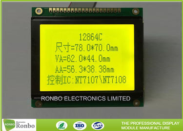 China 128x64 STN Yellow Green Positive Graphic LCD Module Lightweight With 6800 Interface distributor