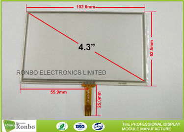 China 4.3 Inch 4 Wire Touch Panel , Soldering Type FPC Connector Industrial Touch Panel distributor