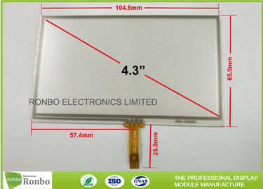 "China Resistive 4 Wire 4.3"" Touch Screen Display Panel With Anti - Glare / Hard Coating factory"