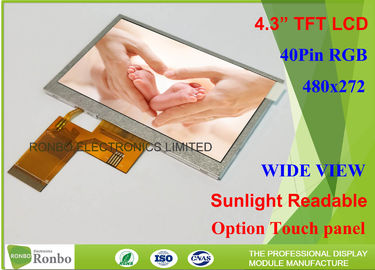 China 4.3 Inch Touch Screen High Brightness TFT Display 1000Cd / M² 480 X 272 Resolution factory