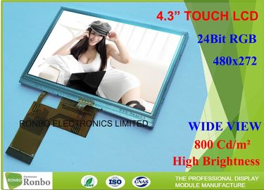 China 4.3 Inch High Brightness TFT Display  800Cd / M² Nit With Resistive Touch distributor