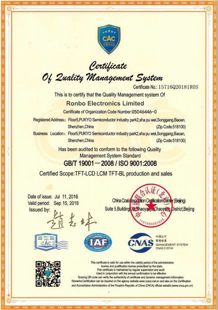 China RONBO ELECTRONICS LIMITED Certifications