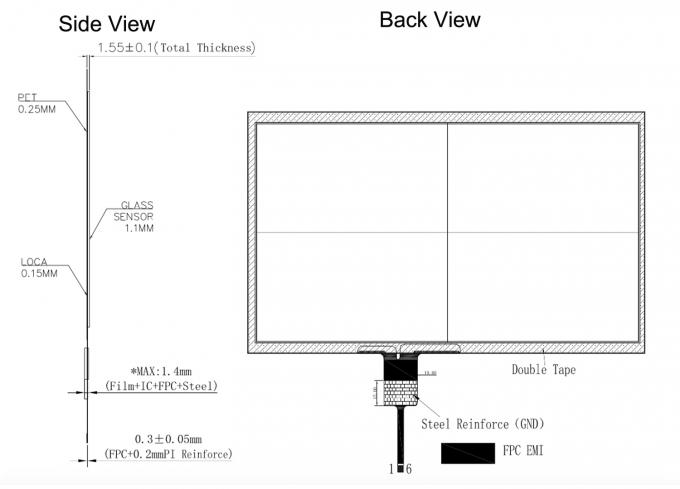 10.1 Inch Thin Thickness Projected Capacitive Touch Panel P + G Structure